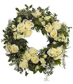 White all rose wreath