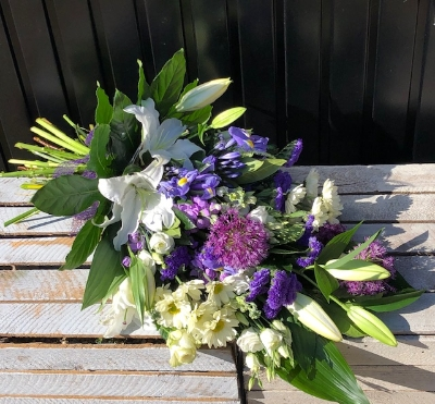 Purple, white and cream tied sheaf