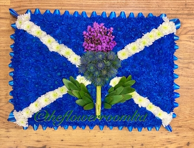 Scottish flag and thistle design