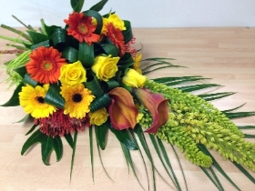 modern orange and yellow tied sheaf