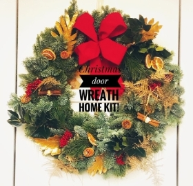Festive door wreath home kit