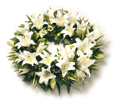 Wreath Lillies White and Green